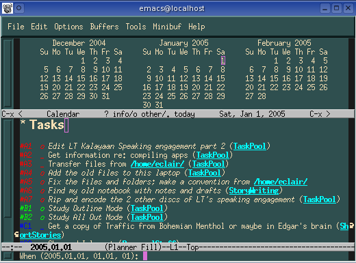 Enter the task deadline in the mini-buffer.  Emacs Planner even shows a 3-month calendar